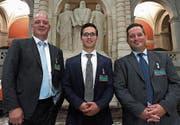 Sie vertraten die St. Galler Standesinitiative in Bern: die Kantonsräte Rolf Huber, Sascha Schmid und Sandro Hess (von links). (Bild: PD)
