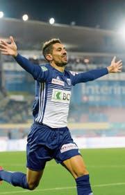Gonzalo Zarate bejubelt seinen Treffer im Super-League-Spiel gegen den FC Luzern. (Bild: KEY)