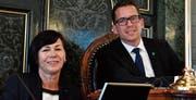 Imelda Stadler, Vizepräsidentin, und Ivan Louis, Präsident des St. Galler Kantonsrates. (Bild: Regina Kühne)