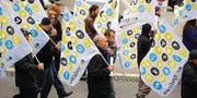Die Mitarbeitenden der Swissprinters in St. Gallen demonstrierten letzten Herbst für den Erhalt ihrer Arbeitsplätze – vergeblich. (Bild: Michel Canonica)