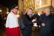 Karin Keller-Sutter an der Feier in Wil - rechts im Bild Bundesrat Johann Schneider-Ammann. (Bild: Ralph Ribi)
