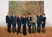Es sollen sieben Regierungsmitglieder bleiben: Der Gesamtbundesrat mit Bundeskanzlerin Corina Casanova (rechts). (Bild: ky/Corinne Glanzmann)