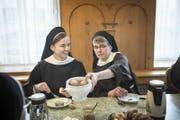 Freude im Appenzeller Kloster Leiden Christi: Schwester Elisabeth und Schwester Chiara (rechts) werden demnächst ihre Ewige Profess ablegen. (Bild: Ralph Ribi)