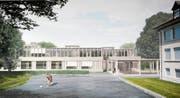 Die Visualisierung zeigt das Siegerprojekt Janus des neuen Schulhauses Zentrum. (Bild: PD)