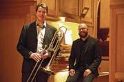 Die beiden Protagonisten: Arwed Peemöller an der Bassposaune und Christoph Lowis an der Orgel. (Bild: ANDREAS TAVERNER)