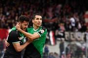 Im letzten Aufeinandertreffen zwischen dem FCSG und dem FC Sion setzten sich die Ostschweizer mit 2:1 durch. Doppeltorschütze damals: Yannis Tafer (rechts). (Bild: Urs Lindt/freshfocus)