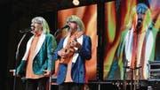 Gastgeber Sepp Silberberger und Franz Pischler parodieren am Alpenland-Musikfestival die Amigos. (Bild: Monika Wick)