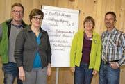 Christophe Notz, FiBL, Anita Gstöhl und Barbara Oppliger, Fachstelle Biolandbau, und Urs Brändli, Präsident Bio Suisse (von links).