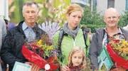 Die Gewinner: Franz Frey aus Herdern, Vera Dünner mit Tochter und Martin Schleiss aus Stettfurt. (Bild: Ruth Bossert)