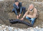 Robin T. Alder (links) und Urs Oberli zeigen die Fundstelle des Saurierknochens. (Bilder: Sabine Schmid)