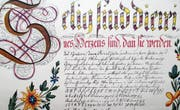 «Selig sind, die reines Herzens sind …» – prachtvolle Osterschrift aus dem Jahre 1795. (Bild: PE)