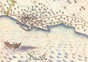 Eine Grenzkarte von Steinach in der ersten Hälfte des 18. Jahrhunderts – mit Hafen und Gredhaus. (Bild: Stiftsarchiv St. Gallen)