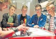 In der Halle 3.0 beim Schwerpunkt «IT rockt!»: Jugendliche besuchen den Stand des Lehrmeisterverbandes der Informatiker. (Bild: Coralie Wenger)
