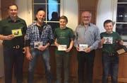 Die Vereinsmeister 2018: Sven Baumgartner, Hans Eggenberger, Janik Baumgartner, Sepp Egger und Marvin Baumgartner (von links). (Bild: PD)