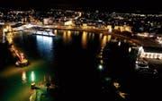 Besonders im Winter ist der Hafen von Romanshorn hell erleuchtet.Archivbild: Manuel Nagel (Dezember 2016)