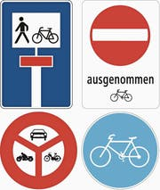 Für langsame E-Bikes mit Tempo unter 25 km/h gelten die gleichen Regeln wie für herkömmliche Velos. Für schnelle E-Bikes bis 45 km/h (Motor mit einer Nennleistung des Elektroantriebs von 500 Watt) gilt bei den abgebildeten Strassenschildern: Motor abschalten. (Bild: PD)