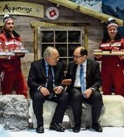 Schneider-Ammann bespricht sich mit dem deutschen Minister Christian Schmidt. (Bild: Clemens Bilan/EPA)