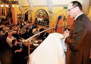 Der St. Galler FDP-Regierungsrat Marc Mächler referiert bei der 320. HV des Gewerbevereins Rorschach zum Thema: «Öffentliches Beschaffungsrecht: Fluch und Segen zugleich.» (Bild: Rudolf Hirtl)