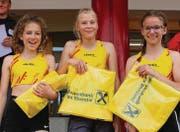Dreifachsieg für die U14-Mädchen des TV Teufen: Daliah Guhl, Lena Marie Rosenfelder und Lorena Lenzi. (Bild: hk)