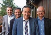 Stellen sich zur Wahl: Adrian Eberle und Urs Bücheler als Gemeinderats-Mitglieder, Dominik Gemperli als Gemeindepräsident und Herbert Wagenbichler als Mitglied der Geschäftsprüfungskommission (v.l.). (Bild: pd)