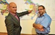 Erläutern den überarbeiteten Zonenplan: Stadtpräsident Andreas Balg und Stadtplaner Thomas Wiegand. (Bild: Max Eichenberger)