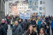 Am 20. April demonstrierte das St.Galler Staatspersonal für den Mitteleinschuss des Kantons in seine Pensionskasse. (Bild: Urs Bucher)
