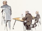 Gestern vor Kreisgericht Wil: der Staatsanwalt, der Beschuldigte, der Verteidiger (von links). (Bild: Zeichnung: Sibylle Heusser)