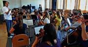 Das Jugendorchester Oberthurgau unter Leitung von Gabriel Estarellas Pascual beim Proben. (Bild: Erwin Schönenberger)