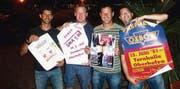 Haben das Party-Organisieren nicht verlernt: Marcel Eigenmann, Andreas Schreiber, Martin Rutishauser und Reto Eppenberger. (Bild: pd)