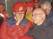 Zwei prominente Knappen: Regierungsrat Marc Mächler und Kantonsrat Walter Locher (St. Gallen). (Bild: Hans Hidber)