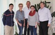 Das OK Gewerbezauber, von links: Adrian Scherrer (Bau und Technik), Elisabeth Hollenstein (Werbung und Modeschau), Stephan Bachmann (Bewirtung), Sandra Breitenmoser (Präsidentin) und Markus Thalmann (Finanzen). (Bild: Martina Signer)
