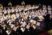 Die Jugendmusik Kreuzlingen unter der Leitung von Stefan Roth überzeugte das Publikum. (Bild: Donato Caspari)