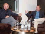FC St. Gallen-Trainer Giorgio Contini und Präsident Stefan Hernandez plauderten viel, aber nicht alles aus dem Nähkästchen. (Bild: Simon Dudle)