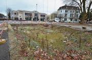 Der «Abbruch-Krater» auf dem Bündnerhof-Areal, im Hintergrund die Ahornplatane. Nach dem Stadtratsentscheid will der Eigentümer das Land verkaufen. (Bild: Max Eichenberger)