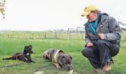 Im Training zeigt Tanja Leu, wie Halter ihren Hunden beibringen können, gefundene Köder nicht zu fressen. (Bild: Daniela Ebinger)