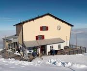 Visiere zeigen an, wie die Bergstation der Luftseilbahn Wasserauen-Ebenalp erweitert werden soll.