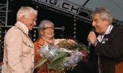 Die Preisträger Esther Boppart und Carlo Bonetti waren ob der Auszeichnung sichtlich gerührt: «Wir müssen das zuerst einmal verdauen.» (Bild: Michel Burtscher)