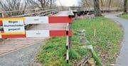 Zwischen dem abbruchreifen Steg und dem Veloweg wird ein neuer Fussweg erstellt. (Bild: Max Eichenberger)