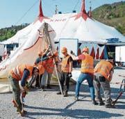 Mit gemeinsamen Kräften werden die Zelte aufgebaut.