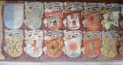 Eine Machtdemonstration: das Wappenfries im Repräsentationssaal von Schloss Frauenfeld. (Bild: PD)