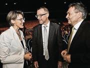 TKB-Kommunikationschefin Anita Schweizer, Bankchef Heinz Huber und Bankratspräsident René Bock. (Bild: Donato Caspari (Donato Caspari))