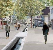 Die Umgestaltung des Goldacher Zentrums im Bereich Hauptstrasse ist im Abstimmungspaket enthalten. Visualisierung (Bild: : zVg)