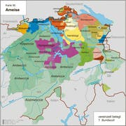 Überall heisst sie anders: die Ameise. Im Thurgau wird sie «Wurmbaasle» genannt.Karte: Kleiner Sprachatlas der deutschen Schweiz. (Bild: Karte: Kleiner Sprachatlas der deutschen Schweiz)