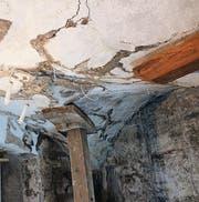 Das Gewölbe nach erfolgter Risskittung mit Kalkmörtel.
