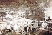 Erschütternd: So sah Rüthi nach dem Grossbrand vom 21. September 1890 aus. 287 Häuser fielen den Flammen zum Opfer. 672 Frauen, Männer und Kinder waren vom einen Tag auf den anderen obdachlos. (Bild: Ortsmuseum Rüthi/Bilderarchiv Gemeinde Rüthi)