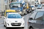 Verkehr auf der Bahnhofstrasse in Bischofszell. (Bild: Donato Caspari)