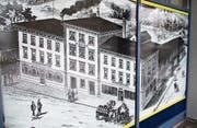 Das grossformatige Bild im Oberegger Volg-Laden erinnert an die Glanzzeit der Brauerei Locher. (Bild: PE)
