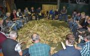 Gemeinsamer Einsatz macht Spass: Die freiwilligen Helfer beim Schälen der frisch geernteten Buchser Türggä. (Bild: Thomas Schwizer)