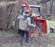 Ein Häksler bearbeitet die eingesammelten Äste und gibt sie zerkleinert an die Umwelt zurück. (Bild: Markus Bösch)