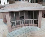 Das Modell des Klanghauses wurde im Vorraum der Tribüne des Kantonsratssaals aufgestellt. (Bild: Martin Knoepfel (St. Gallen, 8. Dezember 2015))